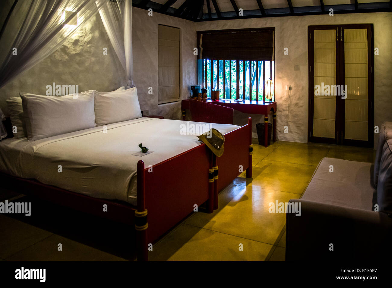 Hotel bedroom in Sri Lanka - Stock Image
