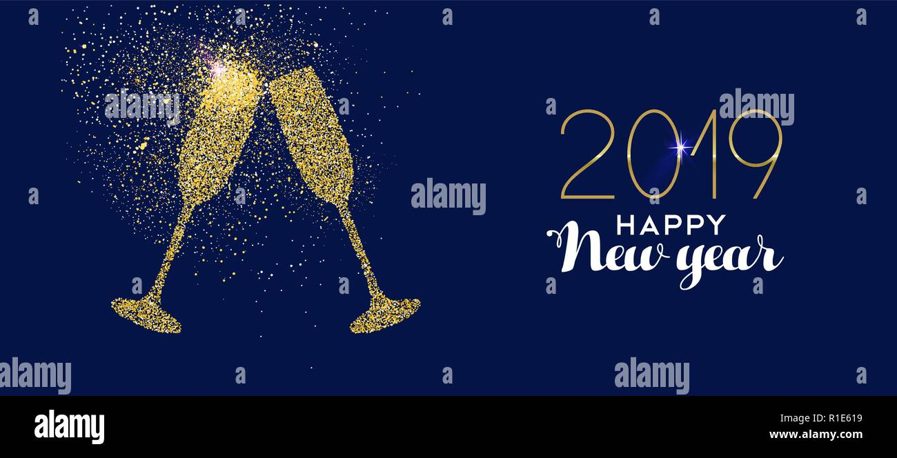 happy new year 2019 gold champagne glass celebration toast made of realistic golden glitter dust ideal for holiday card or elegant party invitation