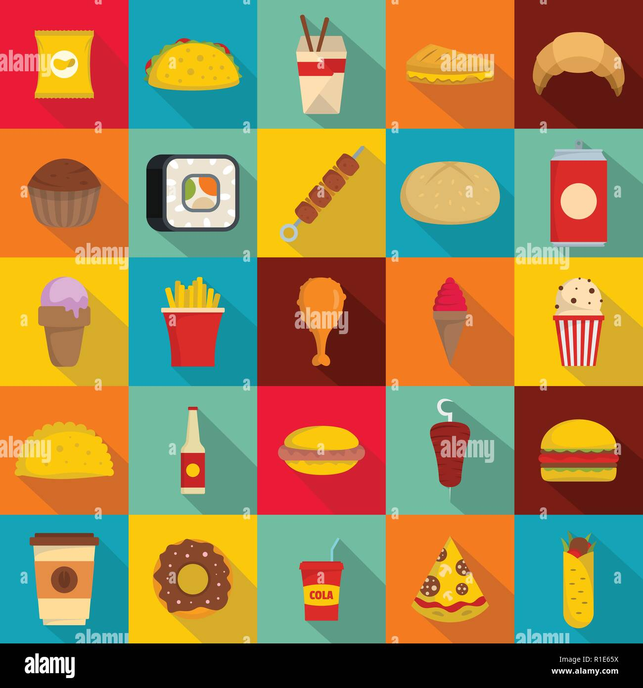 Fast Food Icons Set Flat Illustration Of 25 Fast Food