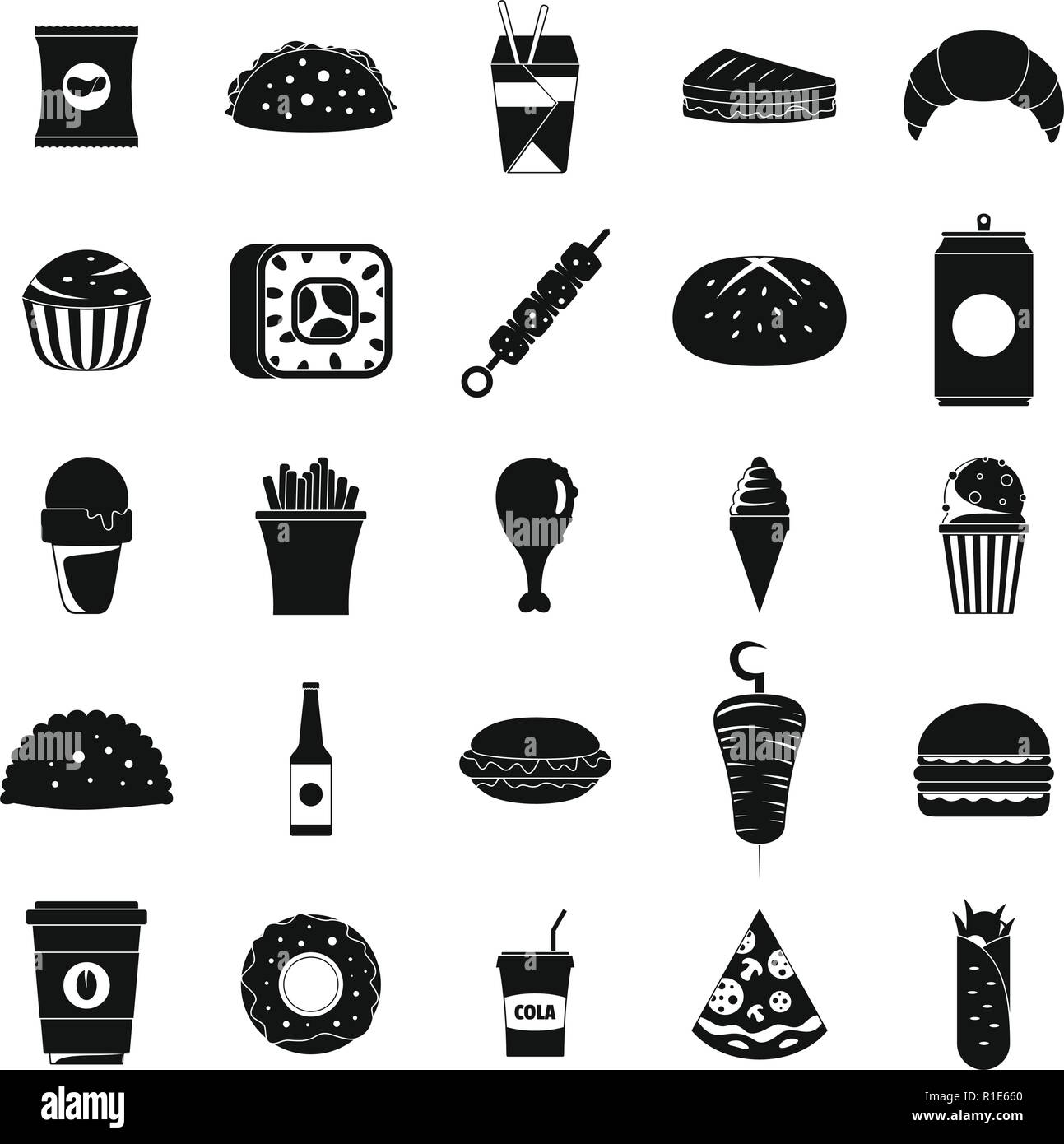 Fast food icons set. Simple illustration of 25 fast food vector icons for web - Stock Vector