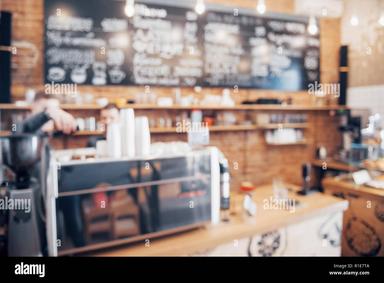 Blurred background made with Vintage Tones, Coffee shop blur background with bokeh - Stock Image