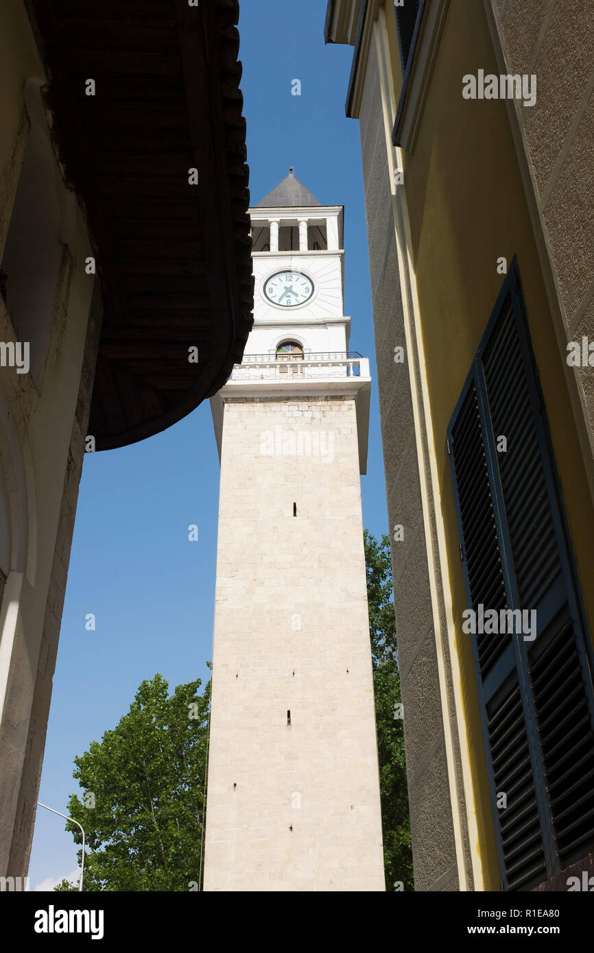 Old and new buildings provide a juxtaposition in Tirana, the capital city of Albania. - Stock Image