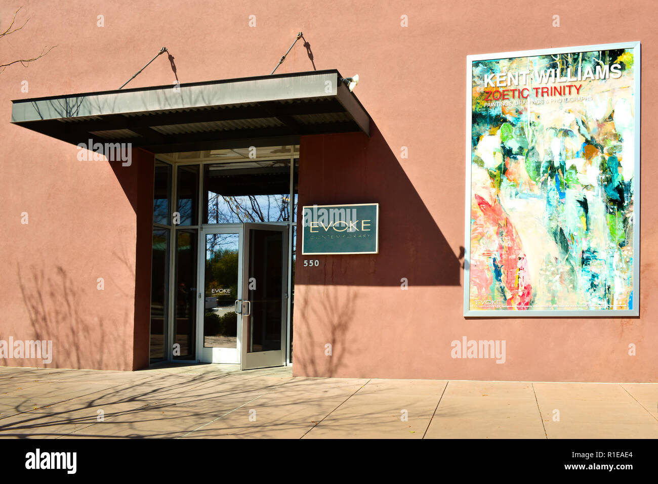 Entrance to the EVOKE art gallery in the Railyard arts district in Santa Fe, NM, USA - Stock Image