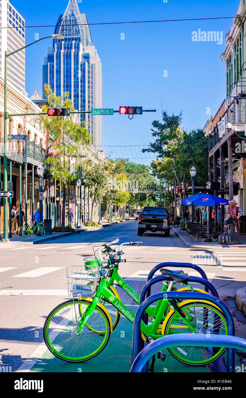 LimeBikes, a bike-sharing service, are parked on Dauphin Street, Nov. 3, 2018, in Mobile, Alabama. Stock Photo