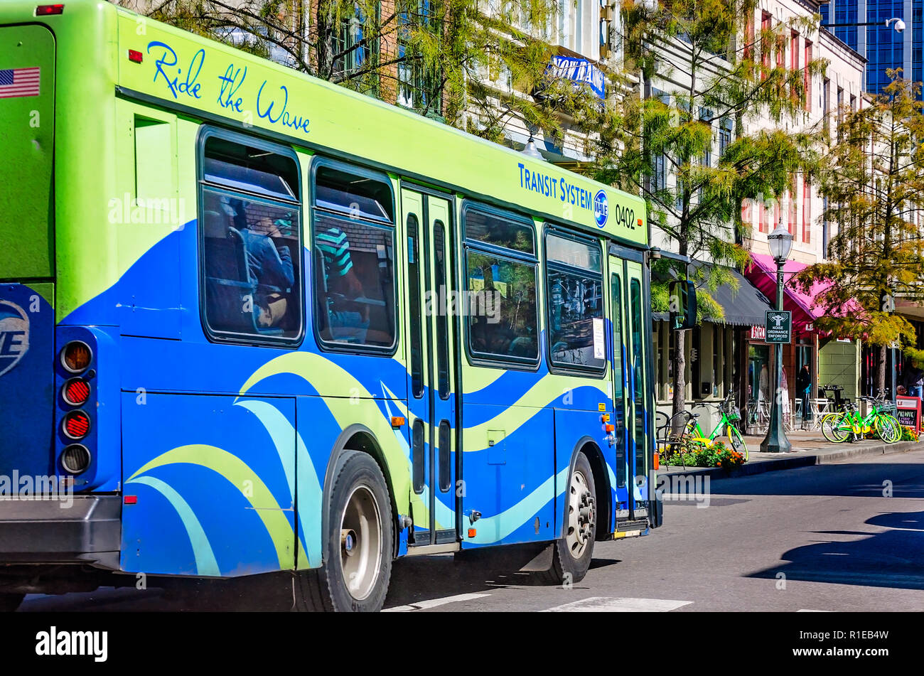 A Wave Transit System bus drives down Dauphin Street, Nov. 3, 2018, in Mobile, Alabama. - Stock Image