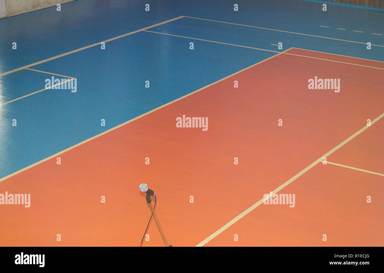 Empty sports training room with markings on the floor for competitions - Stock Image