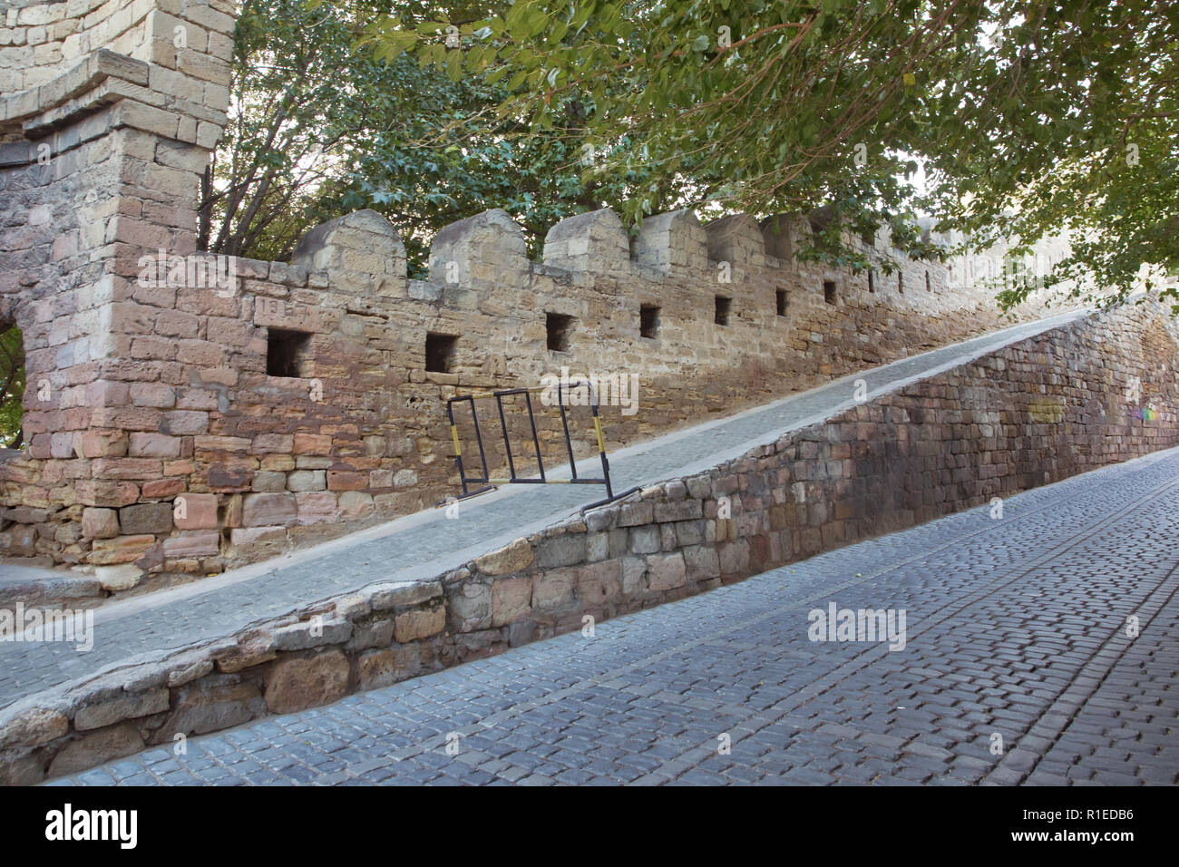 Azerbaijan . Gate of the old fortress, entrance to Baku old town. Baku, Azerbaijan. Walls of the Old City in Baku . Icheri Sheher is a UNESCO World He Stock Photo