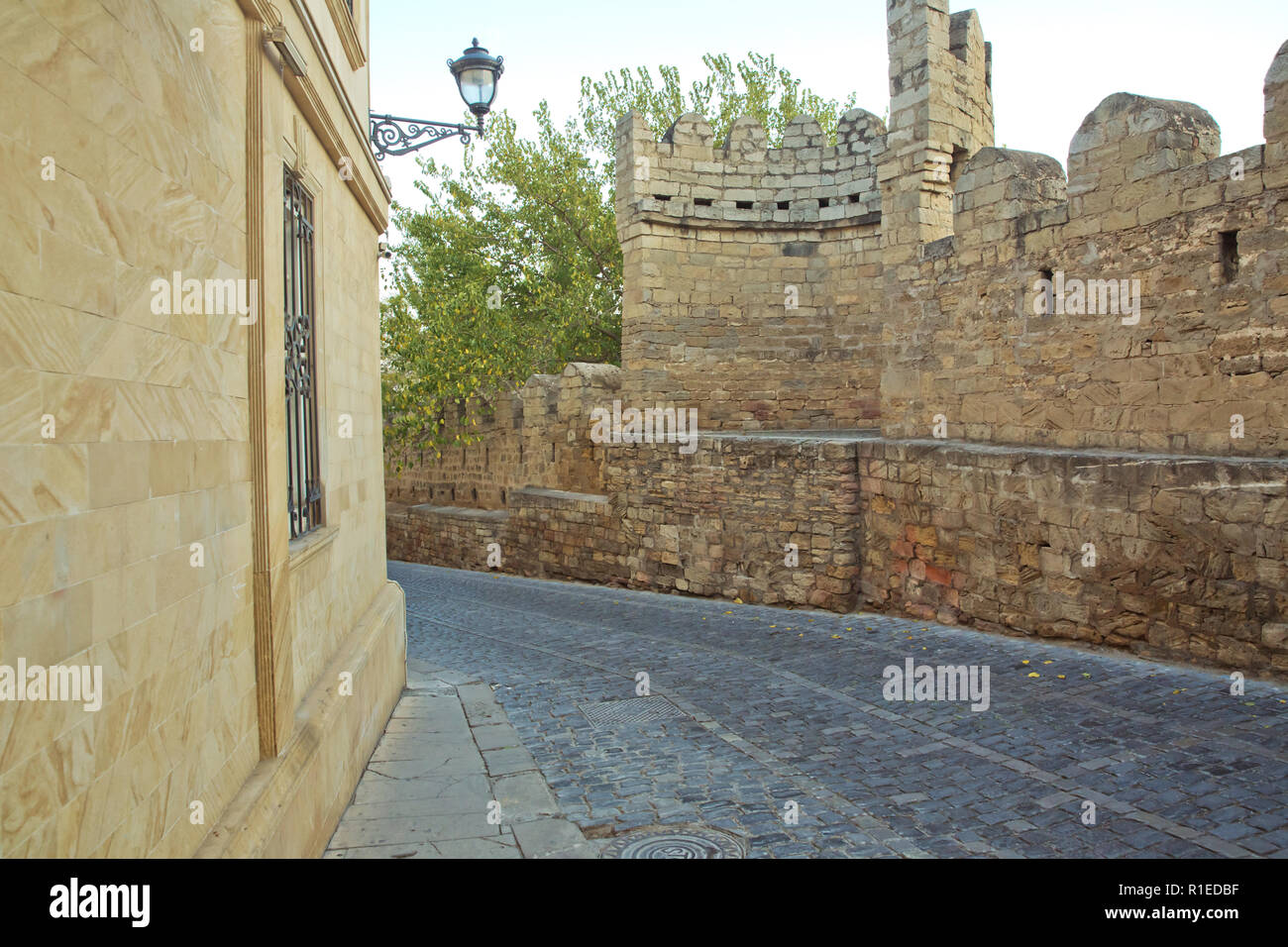 Azerbaijan . Gate of the old fortress, entrance to Baku old town. Baku, Azerbaijan. Walls of the Old City in Baku . Icheri Sheher is a UNESCO World He - Stock Image