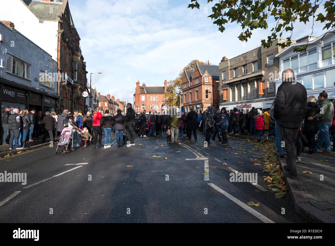 People gather for a WW1 armistice centenary Sunday service in Long Eaton, Derbyshire, UK - Stock Image