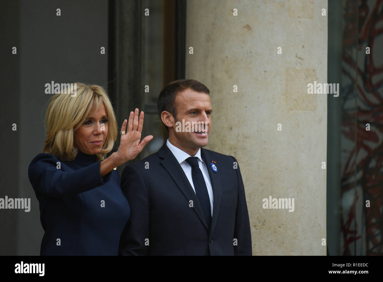 November 10 2018 Paris France French President Emmanuel Macron And His Wife Brigitte Macron Look On