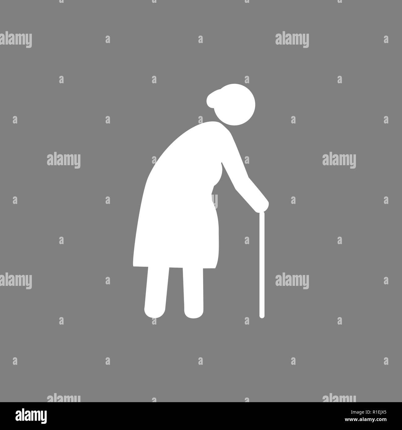 Old woman with a cane. Grey on white background. Flat design. Vector - Stock Vector