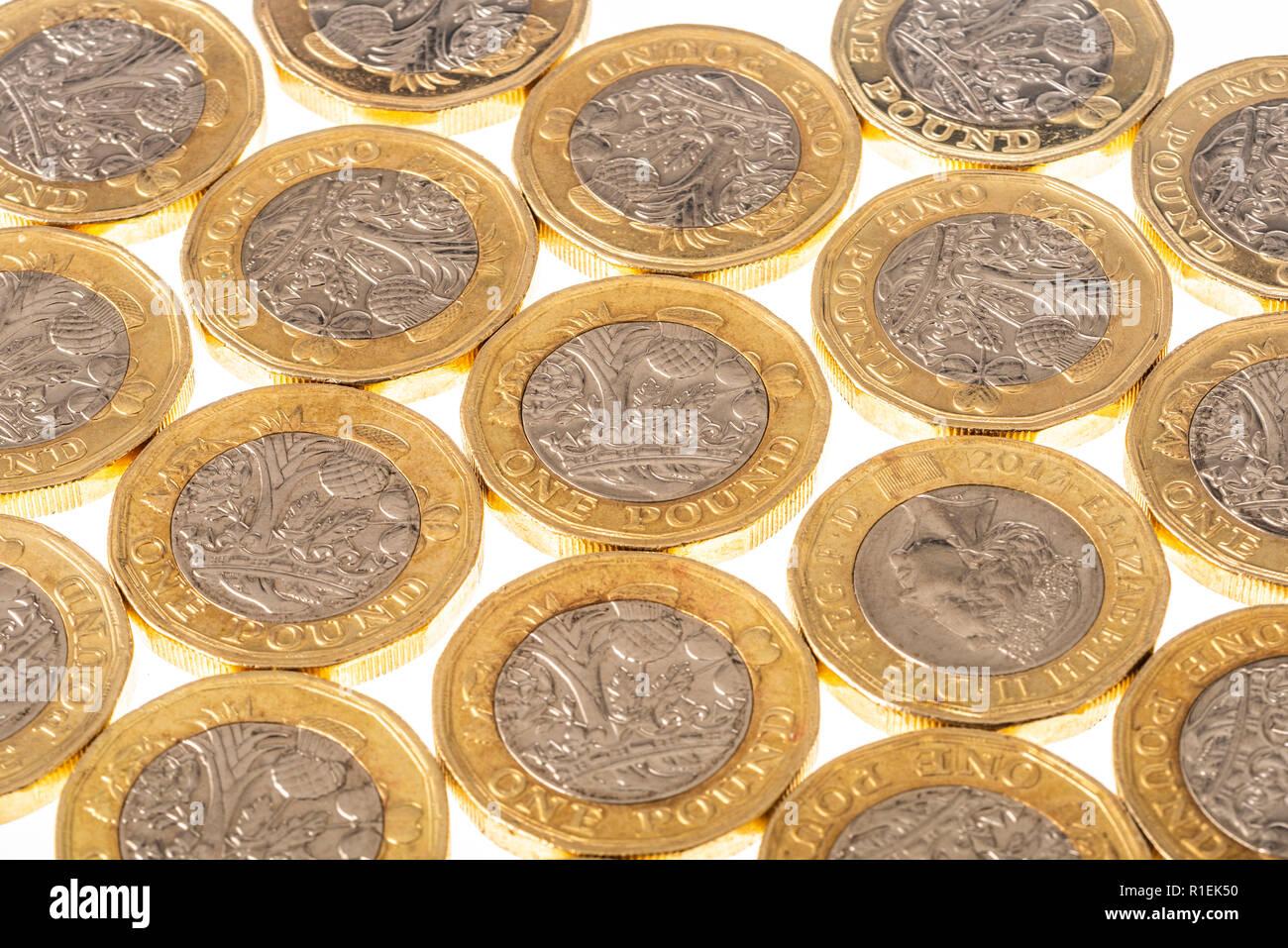 UK British Pound coins on white background - Stock Image