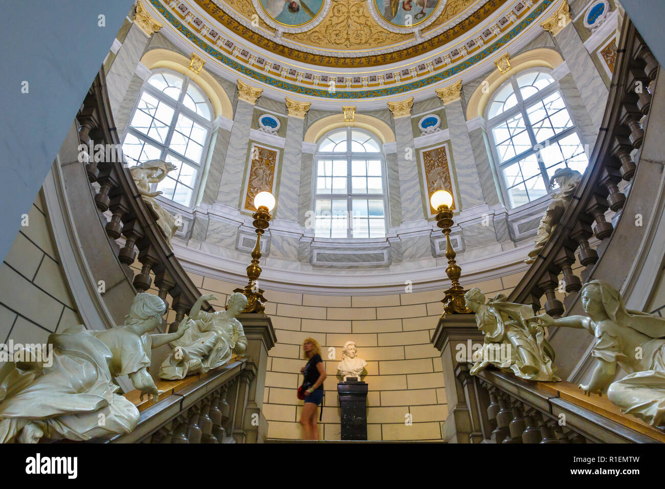 Staircase and ceiling. National Museum of Slovenia. Ljubljana. Slovenia, Europe. - Stock Image