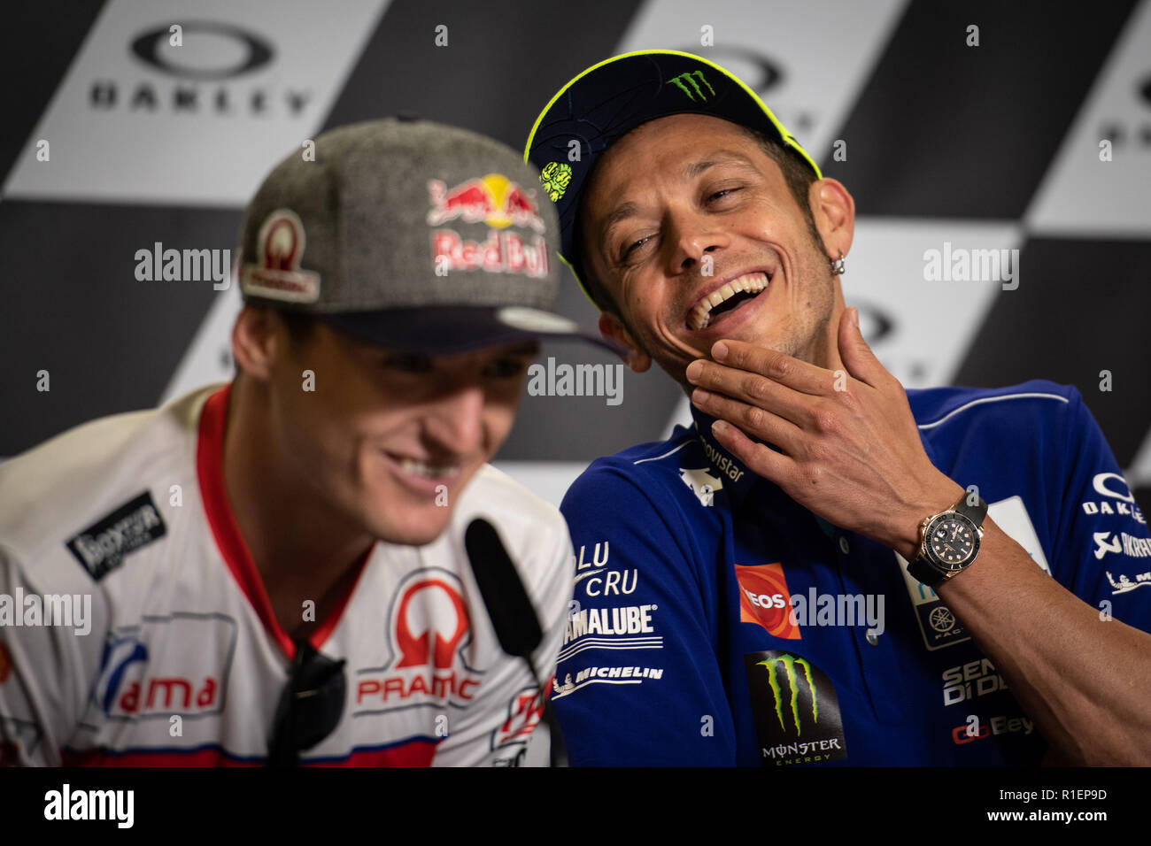 Valentino Rossi and Jack Miller during Thursday's press conference in Mugello Circuit Stock Photo
