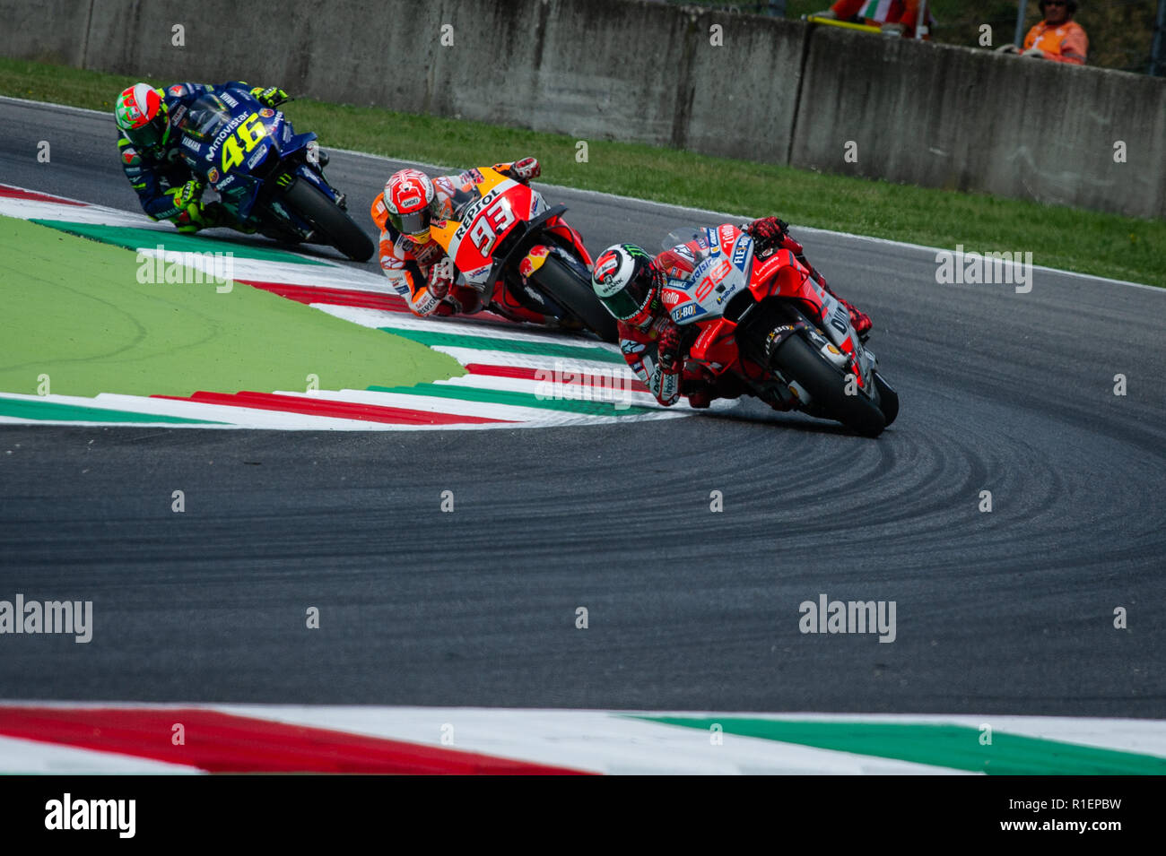 During the Friday free practices in Mugello Circuit Stock Photo