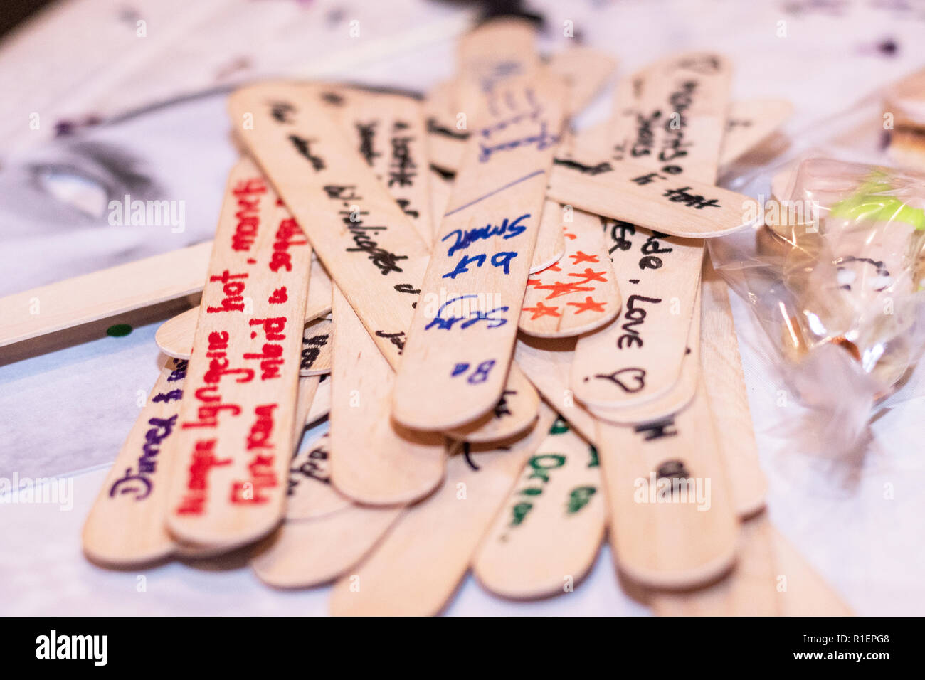 Date Night Jar Messages On Wood Text At A Hens Party For The Bride Horizontal Side View Shallow Depth Of Field Ideas Stock Photo Alamy