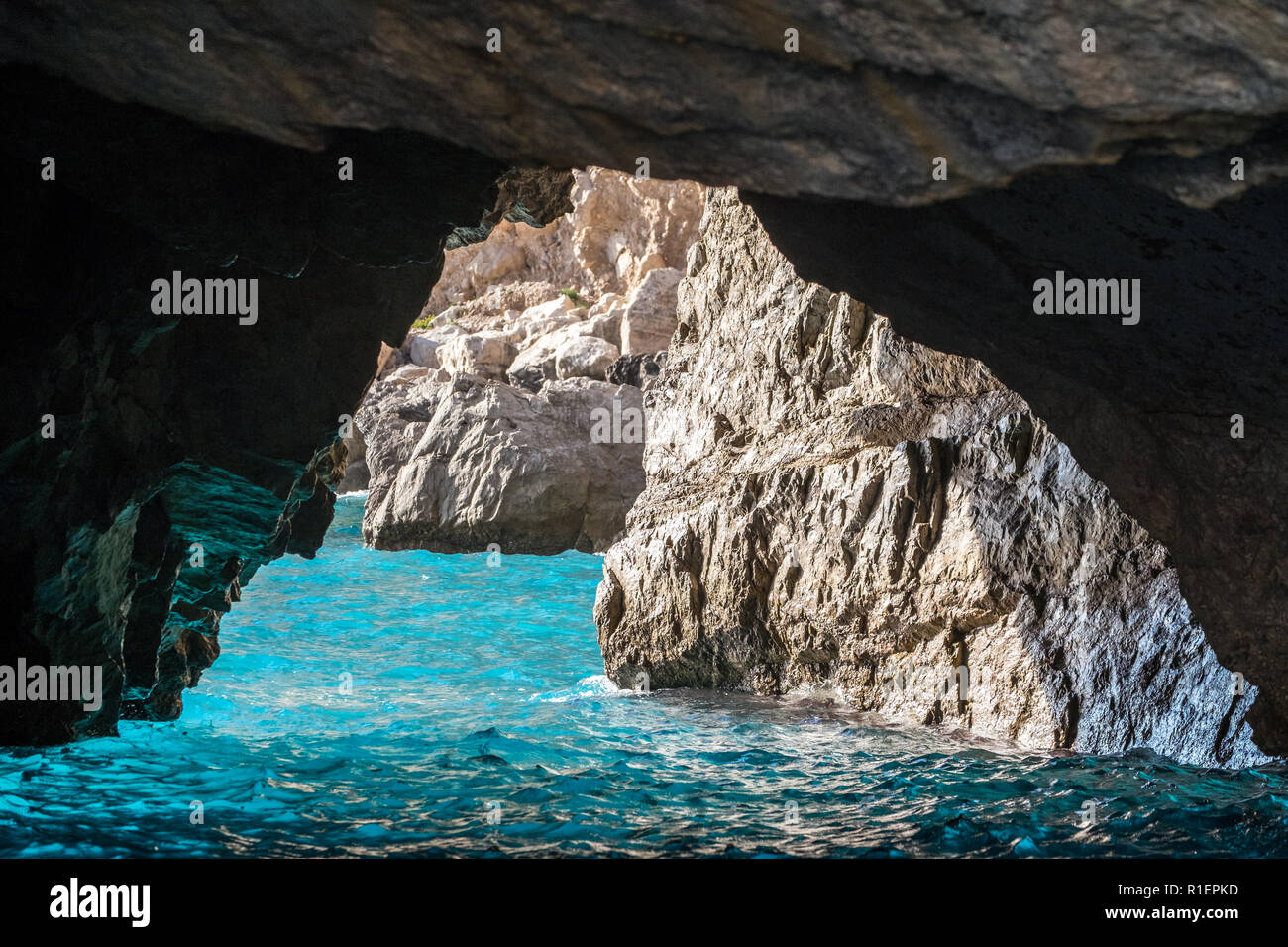The Green Grotto (also known as The Emerald Grotto), Grotta Verde, on the coast of the island of Capri in the Bay of Naples, Italy. Stock Photo