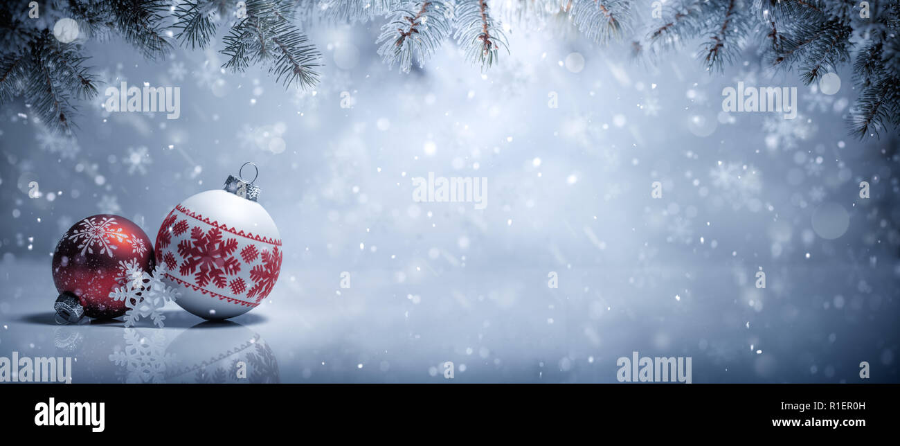 Christmas balls in snow,Christmas decoration - Stock Image