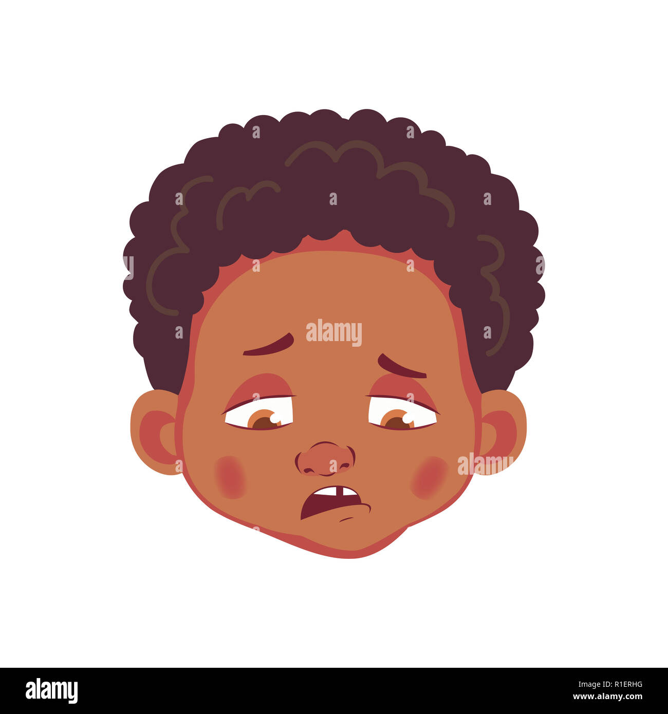 Face of african boy emotions of african american boy facial expression face illustration