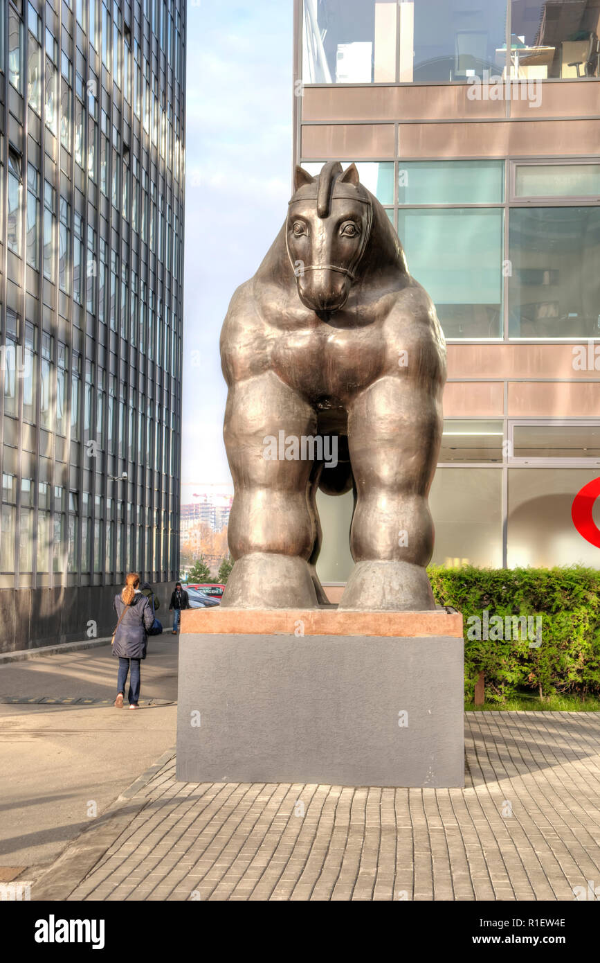 MOSCOW, RUSSIA - November 07.2018: Sculpture of the Trojan Horse in the area of the business center. The creation of a fashionable Colombian sculptor  - Stock Image