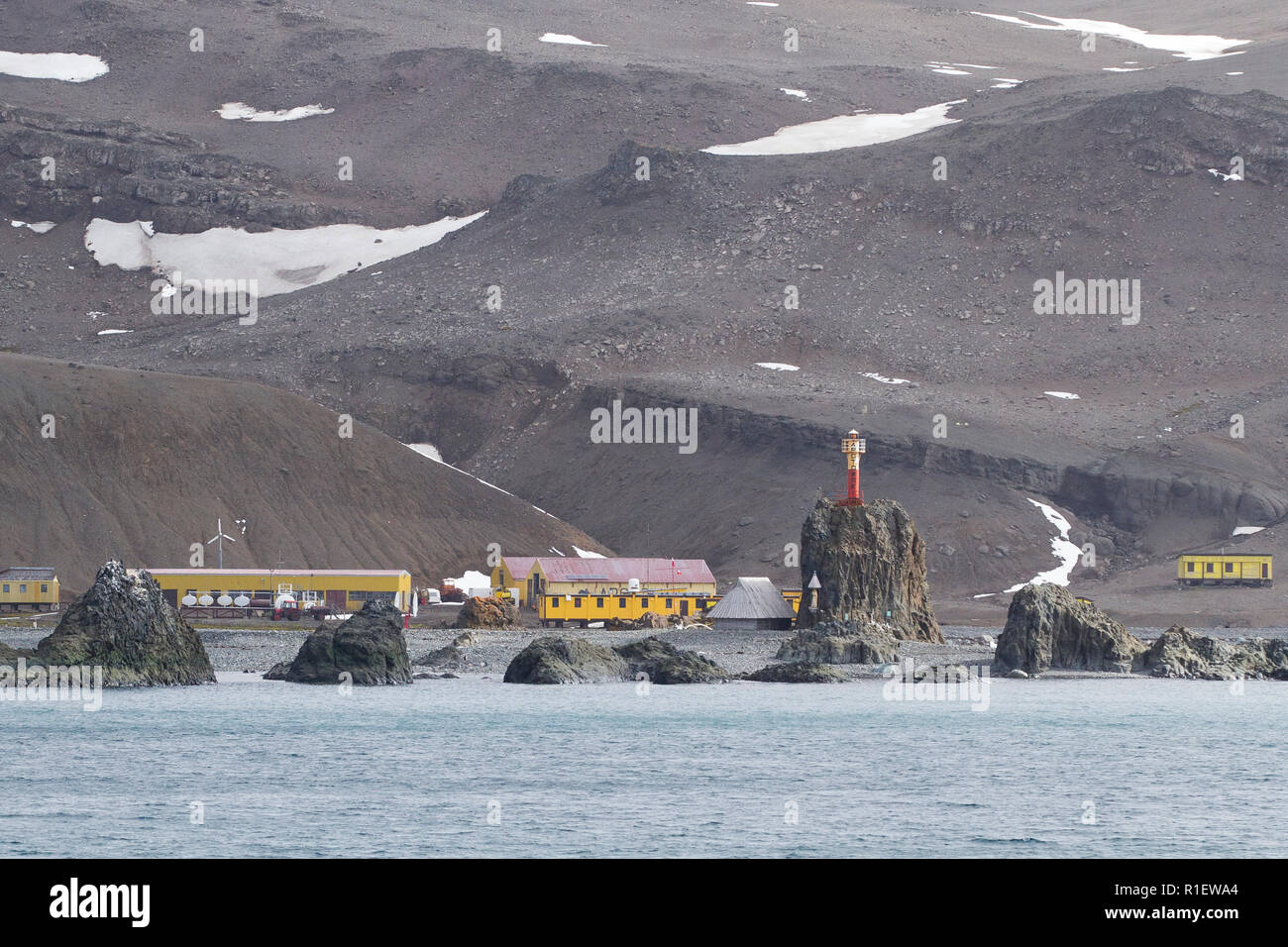 Research station Antarctica. Henryk Arctowski Polish Antarctic Station. - Stock Image