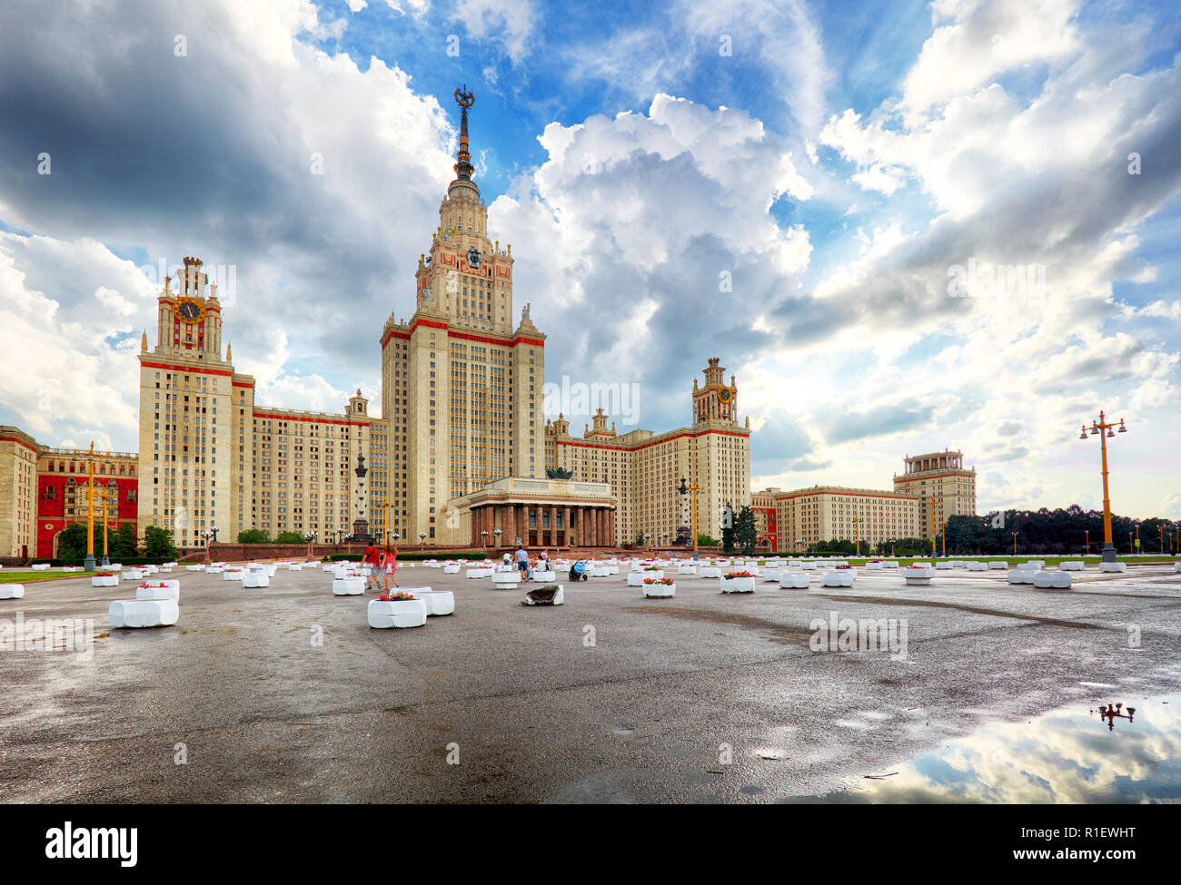 Lomonosov Moscow State University - MSU. MSU is one of Seven Sisters. Russia Stock Photo