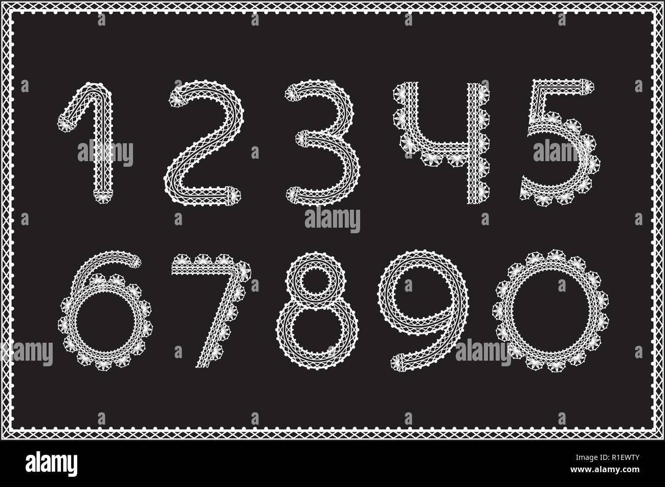 Crochet numbers set. Handicraft signs, white yarn on black - Stock Image