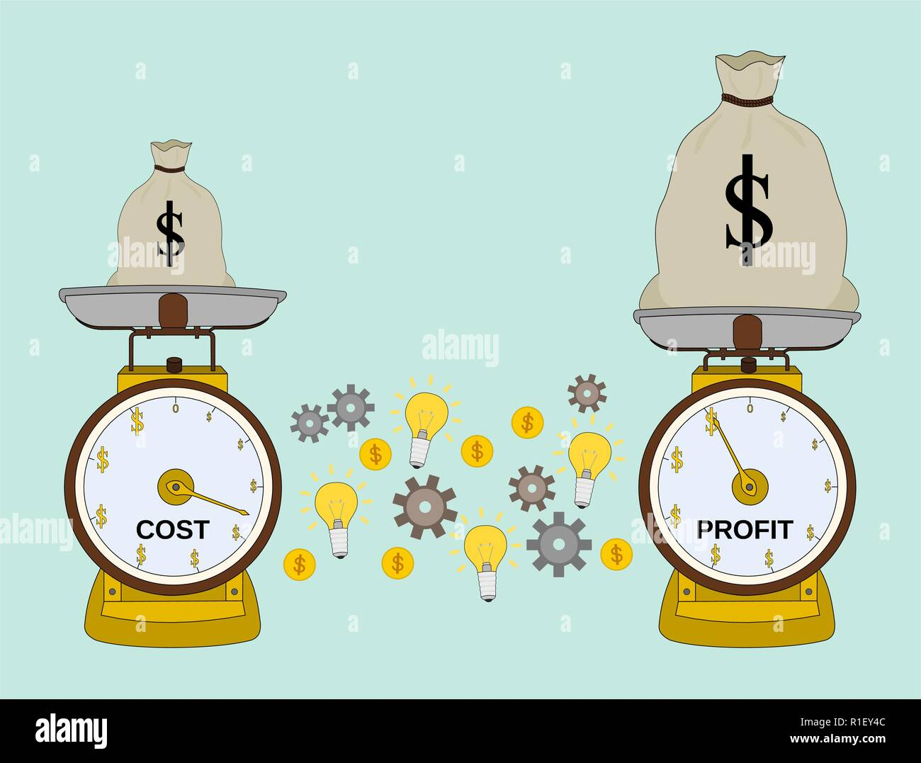 Business scale success profit money with cost and idea , target concept Stock Vector