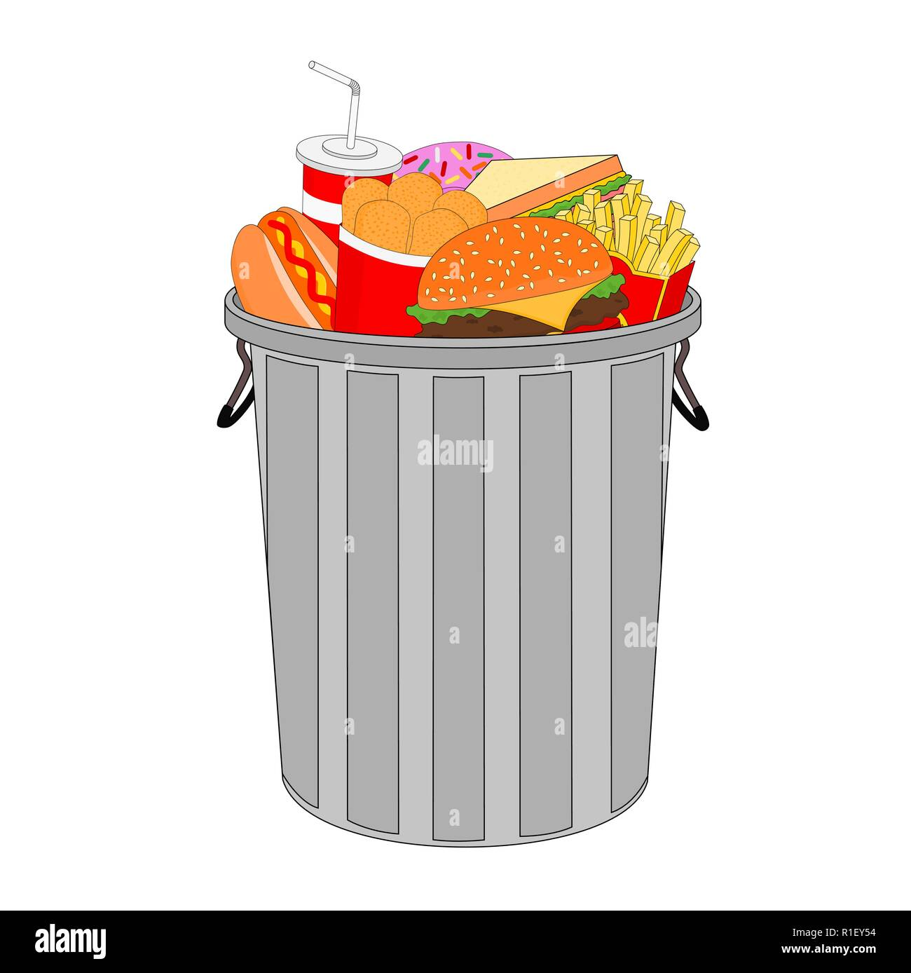 Isolated dustbin is full of delicious fast food menu with burger , hot dog and french fries - Stock Vector