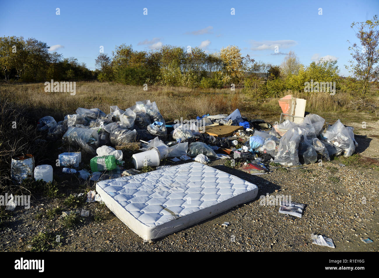 Uncontrolled Landfill - Carrières sous Poissy - France - Stock Image