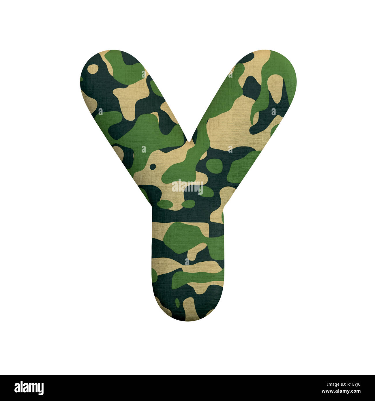 Army letter Y - large 3d Camo font isolated on white