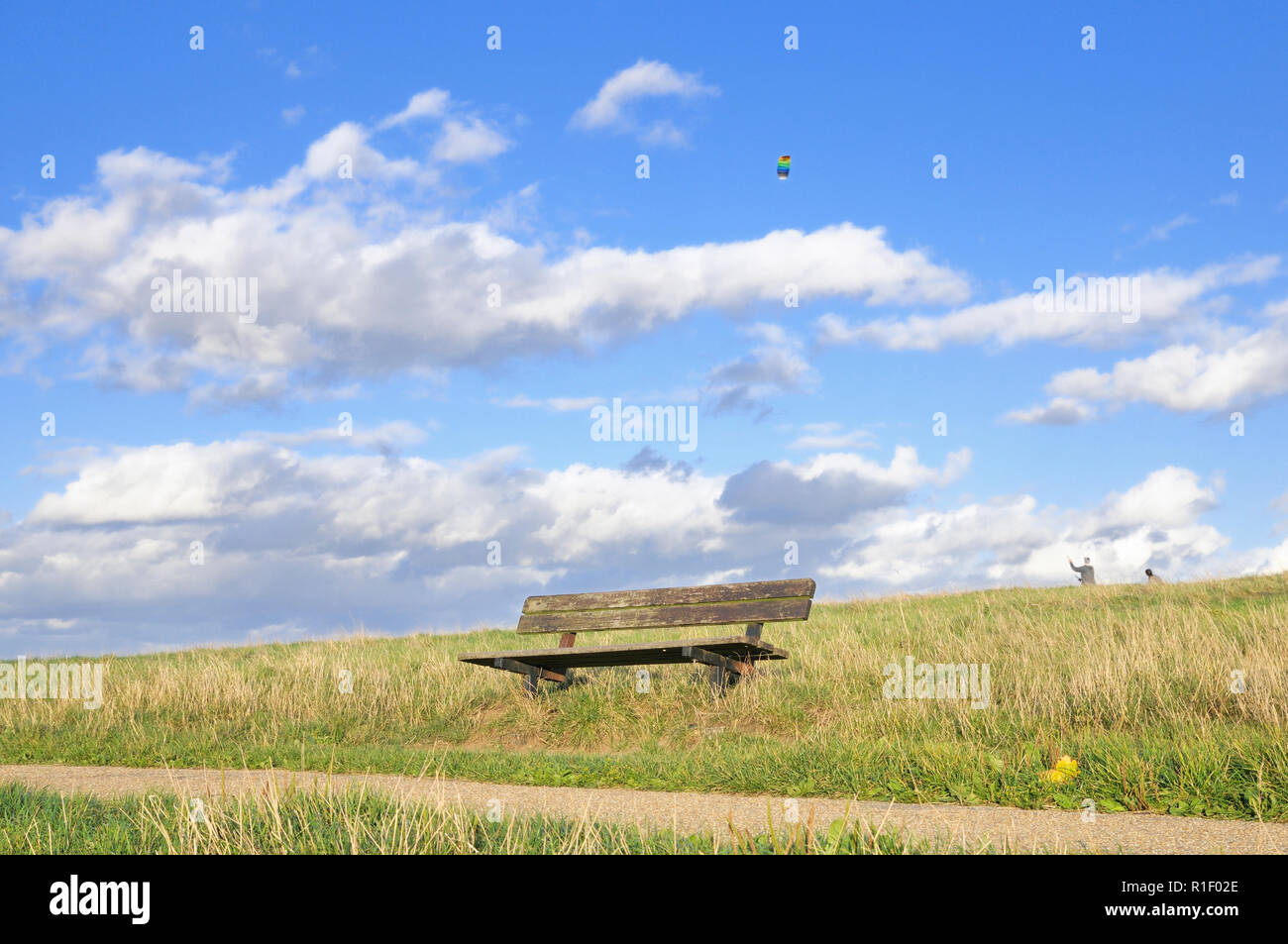 An empty wooden bench on Hampstead Heath with a colourful kite flying in the background - Stock Image