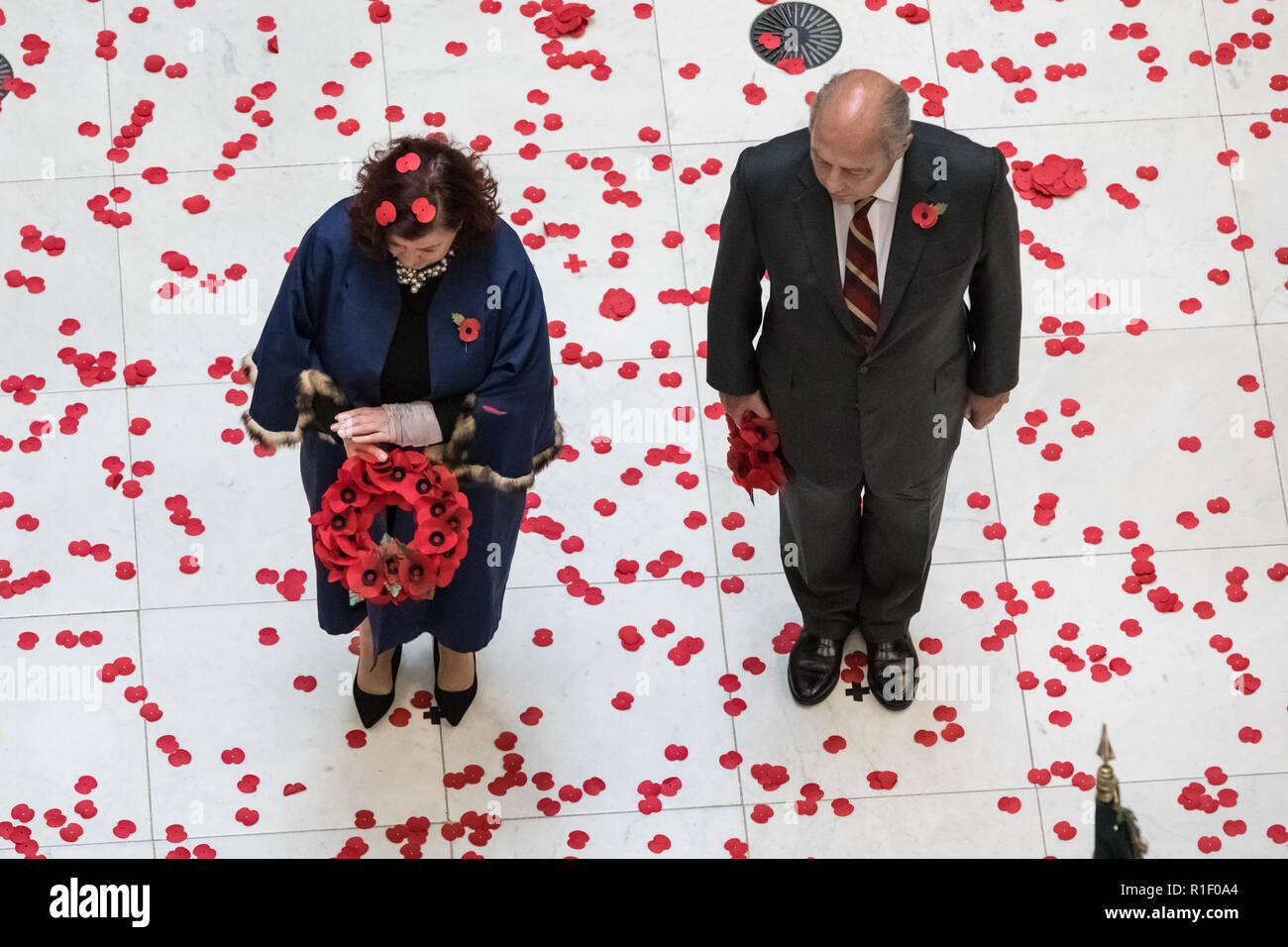 Lloyds of London Remembrance Service on Armistice Day Centenary - Stock Image