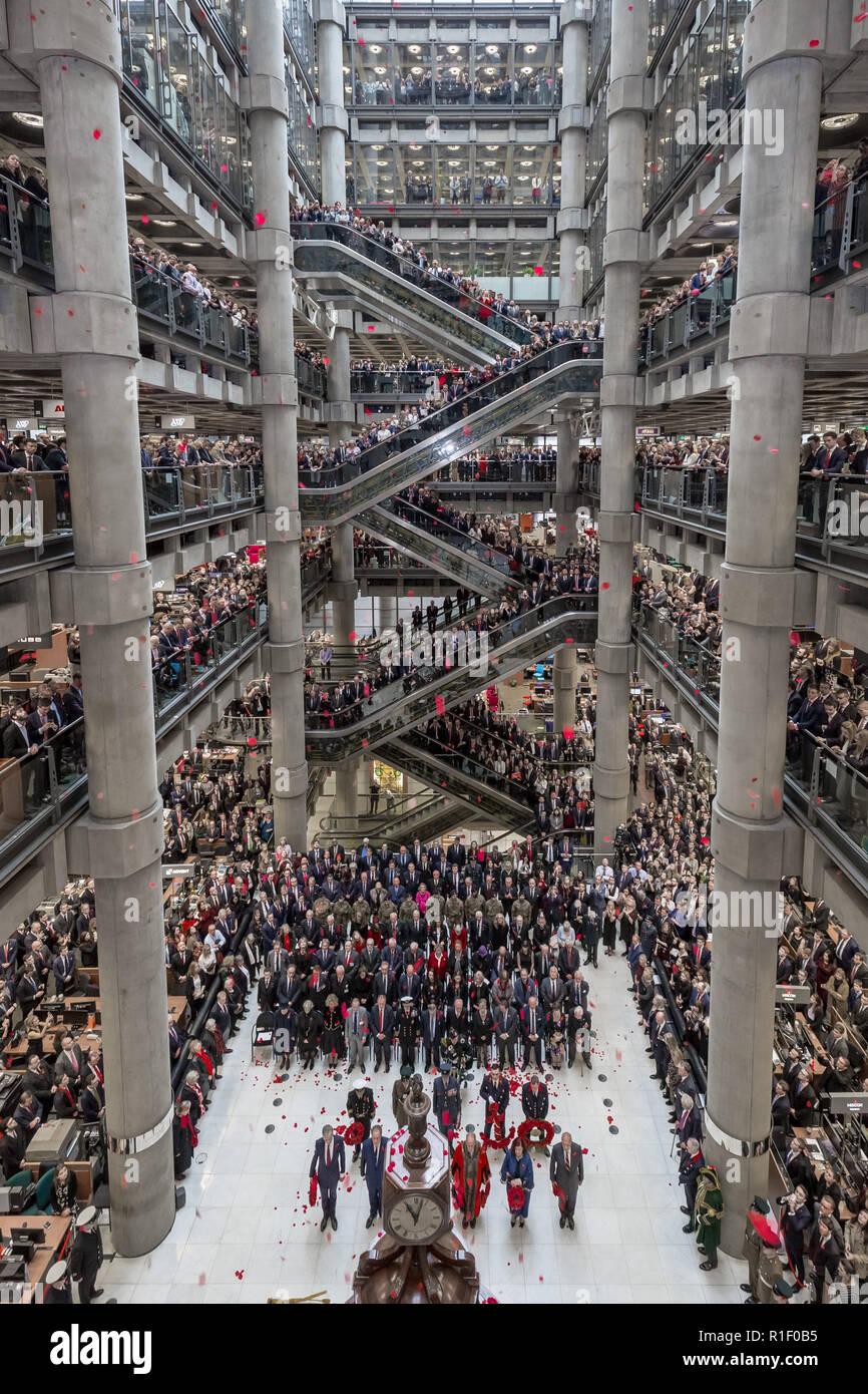 Lloyds of London Remembrance Service on Armistice Day Centenary - Stock Image