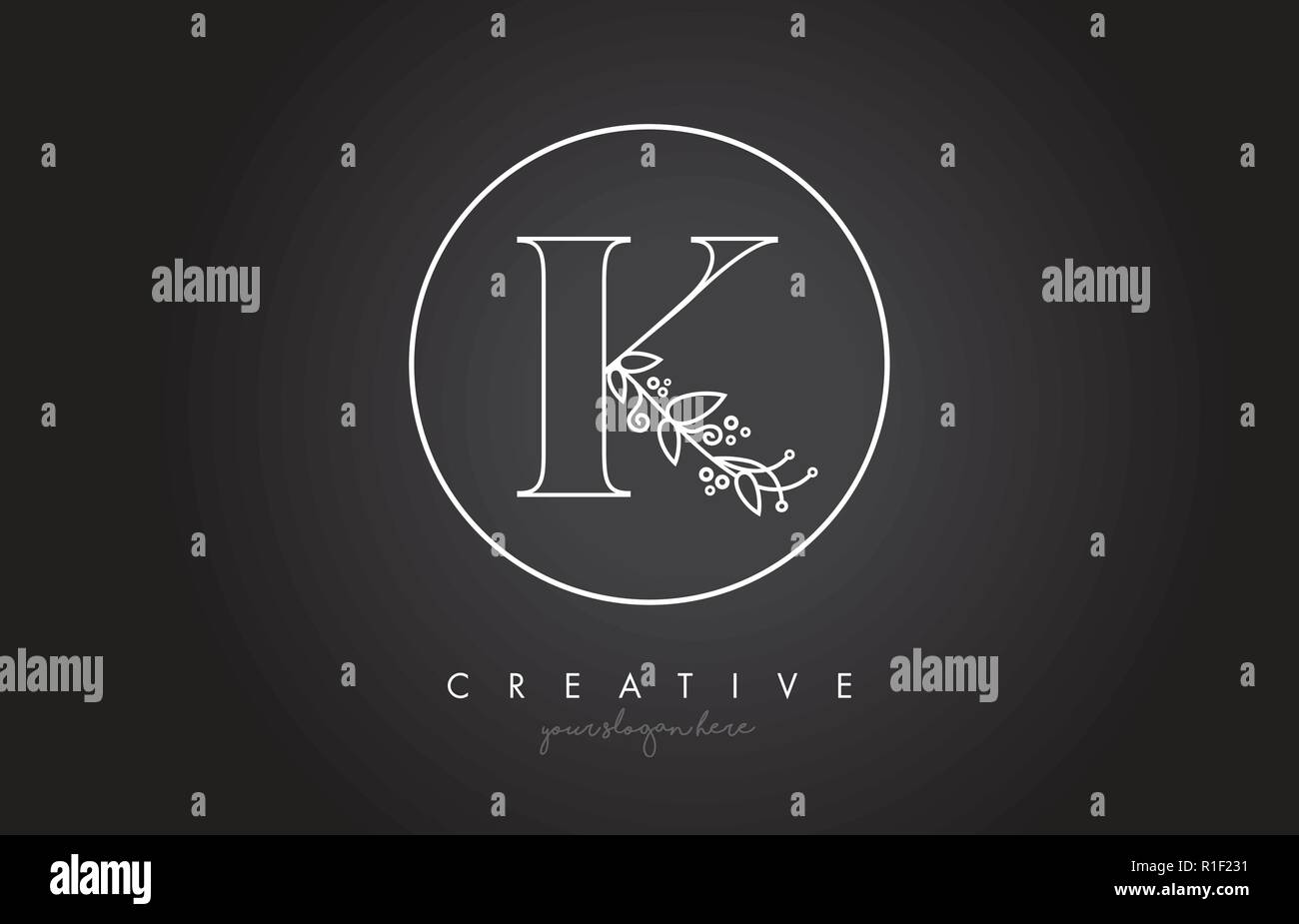 K Letter Logo With Organic Monogram Plant Leafs Detail And
