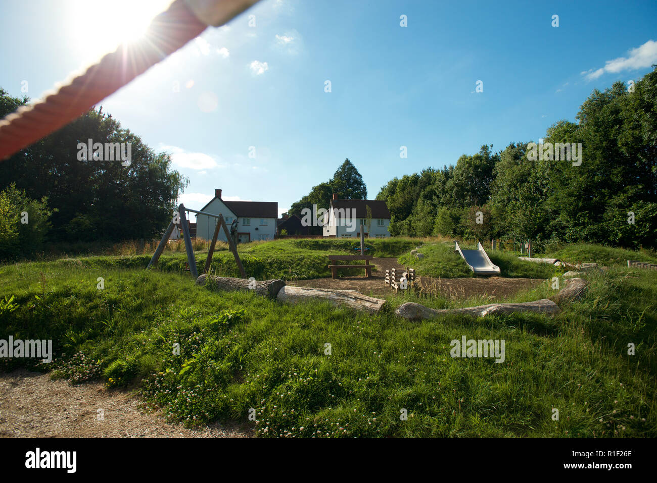 Urban development with eco communal play area - Stock Image