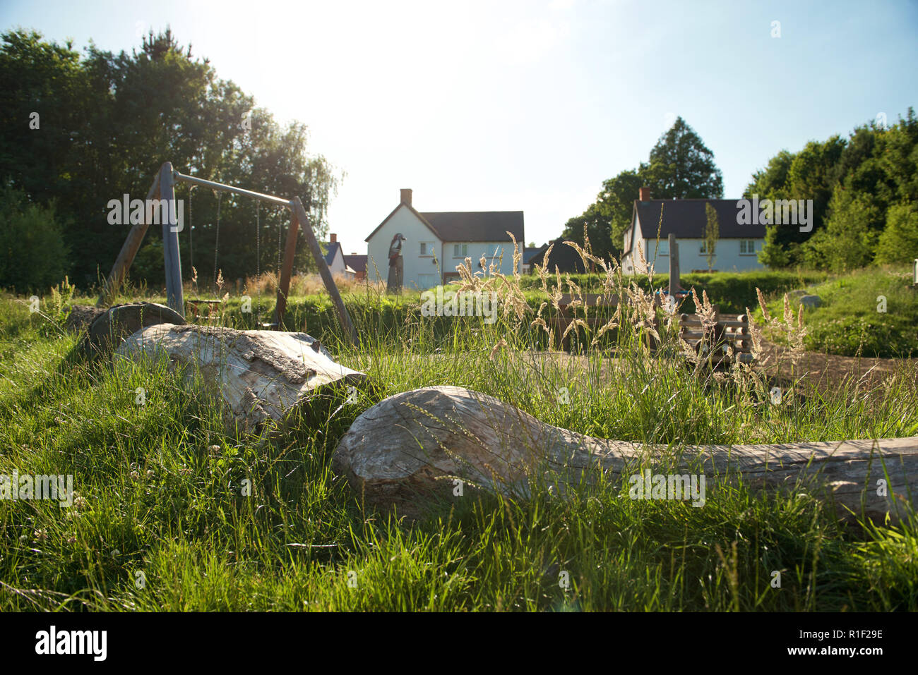 Open space reserve in low impact landscaping communal area - Stock Image