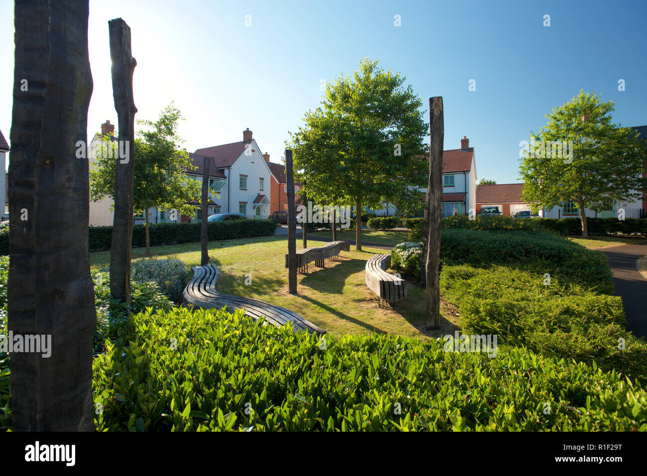 Eco friendly landscape design in urban area - Stock Image