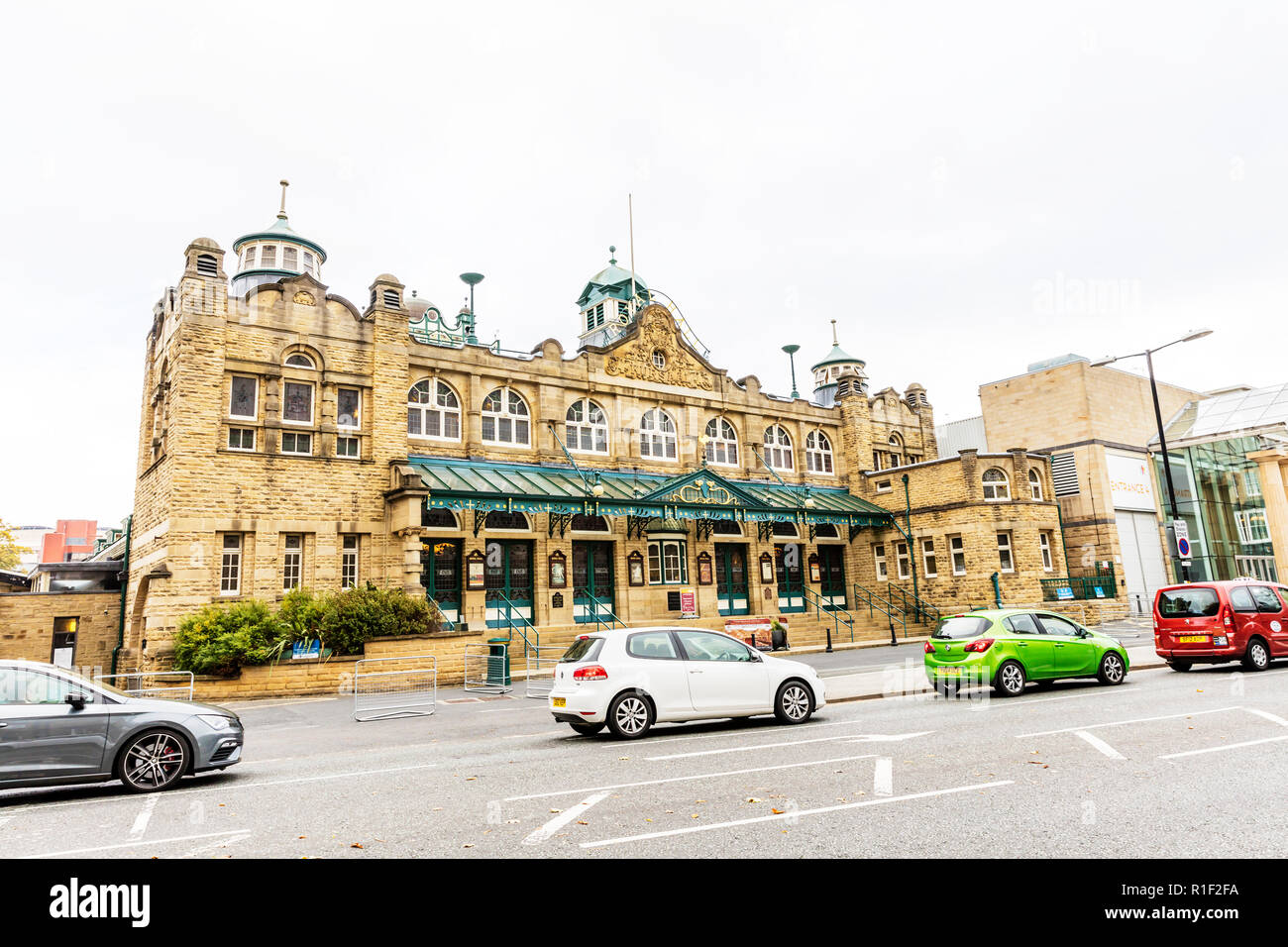 Royal Hall Harrogate town centre Yorkshire UK England, The Royal Hall, Grade II listed building, theatre, theatres, The Royal Hall Harrogate, building - Stock Image