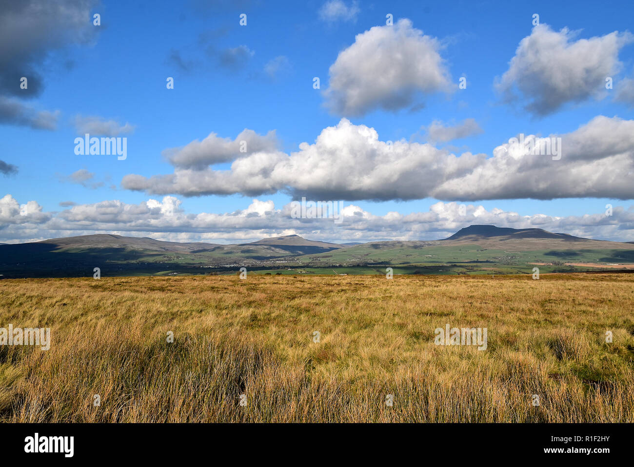Whernside and Ingleborough Hills - Stock Image