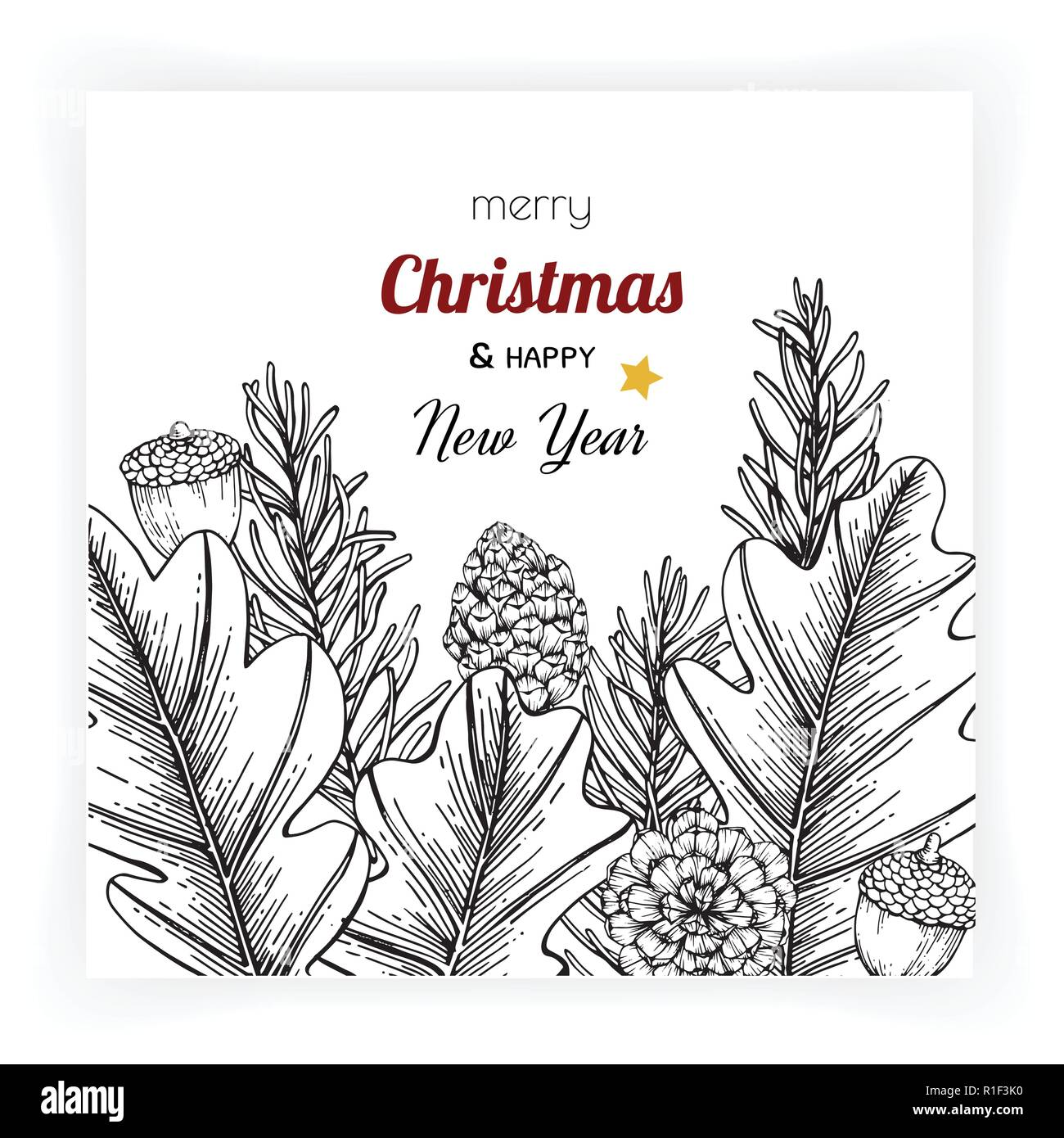christmas and new year backgrounds and greeting card with flower and leaf hand drawn illustration