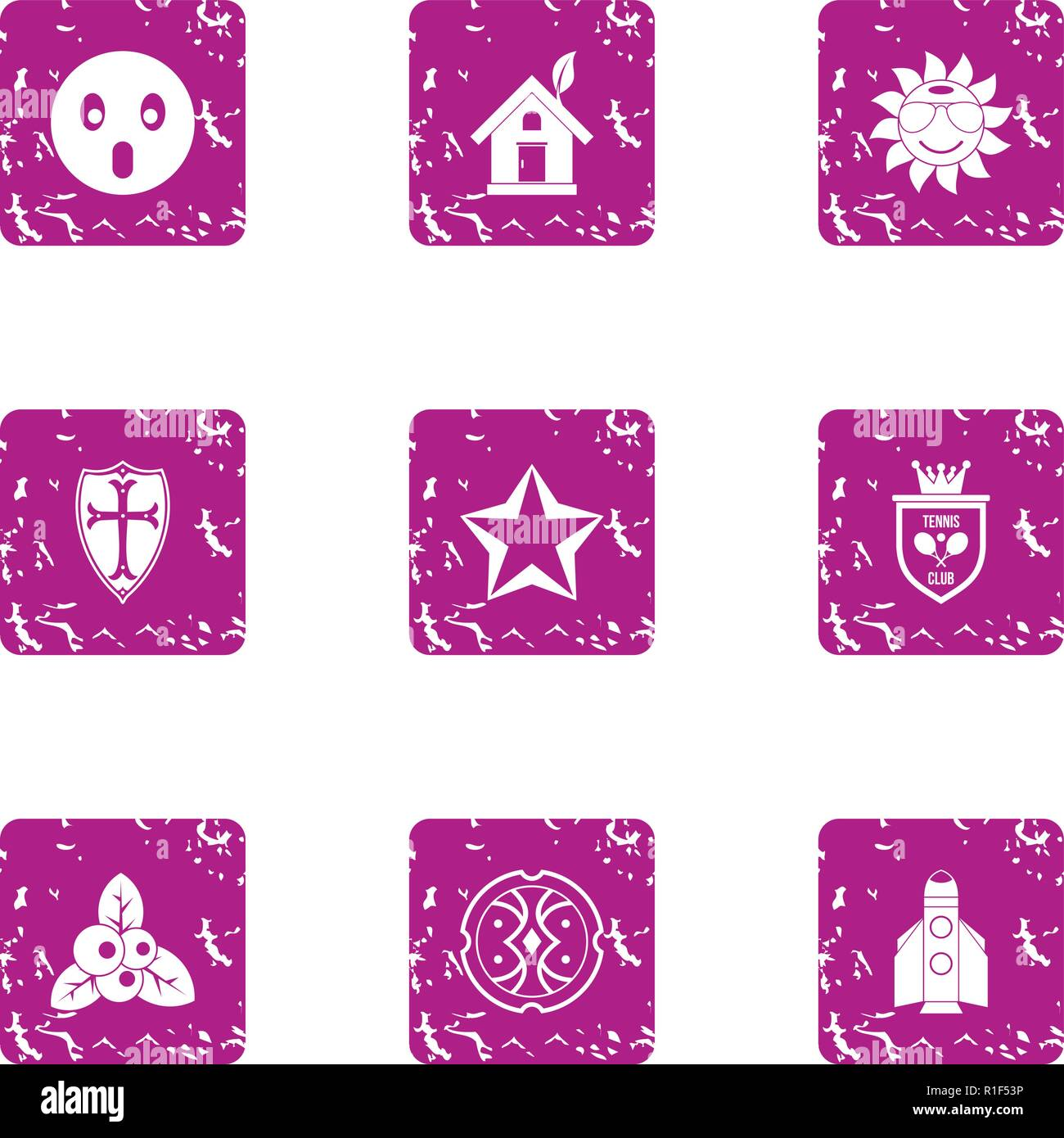 Discovery icons set, grunge style - Stock Vector
