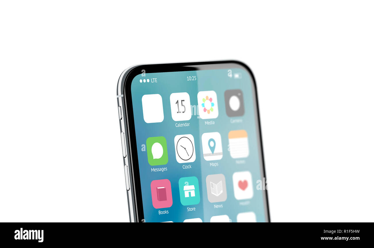 Blank white app icon on phone screen mockup, 3d rendering. Empty square button on display mock up. Mobile interface template. Touchscreen with sign design. - Stock Image