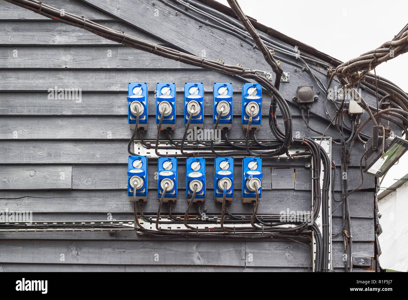 Power Socket Dangerous Uk Stock Photos Wiring An Electrical Outdoor Sockets With Plugs In At Camden Market London Image