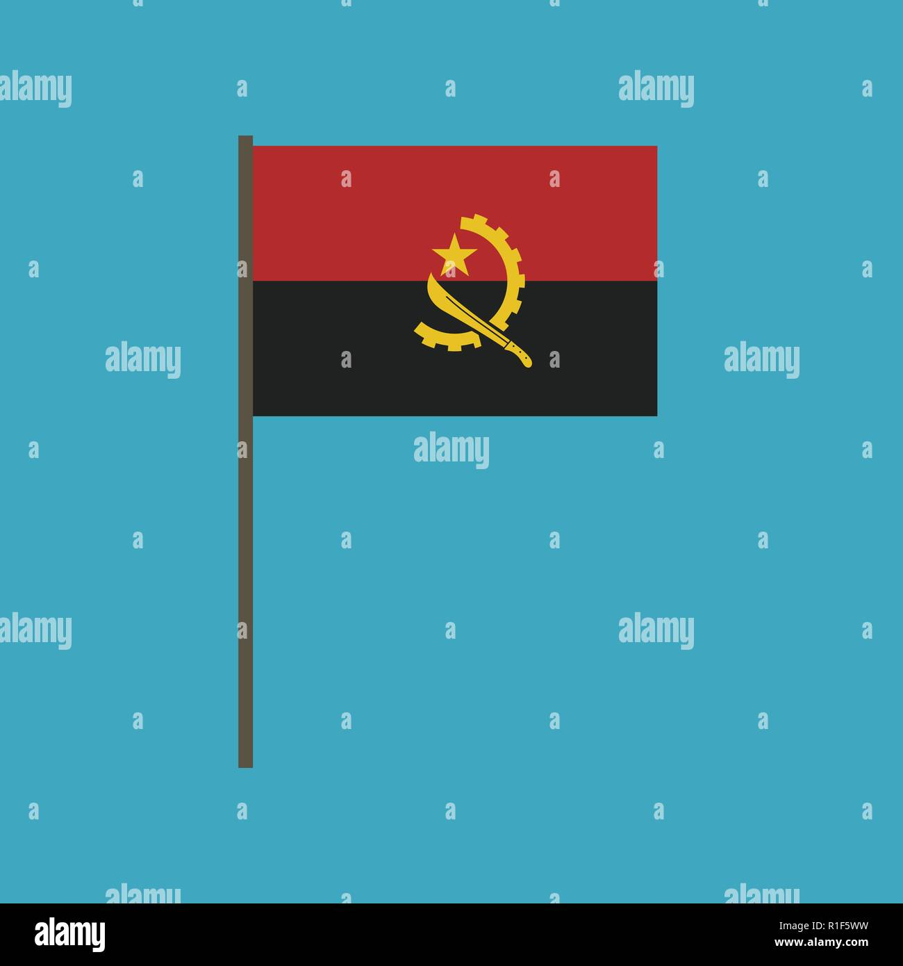 Angola flag icon in flat design. Independence day or National day holiday concept. - Stock Vector