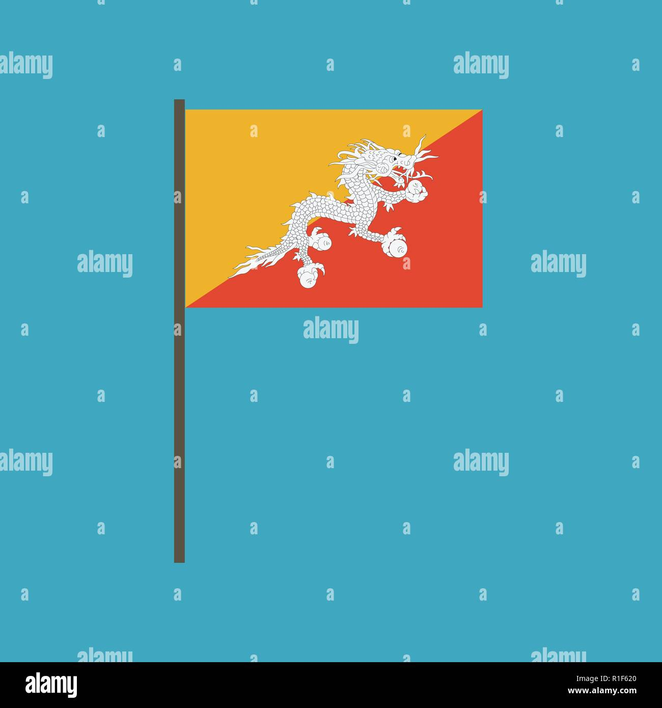 Bhutan flag icon in flat design. Independence day or National day holiday concept. - Stock Vector