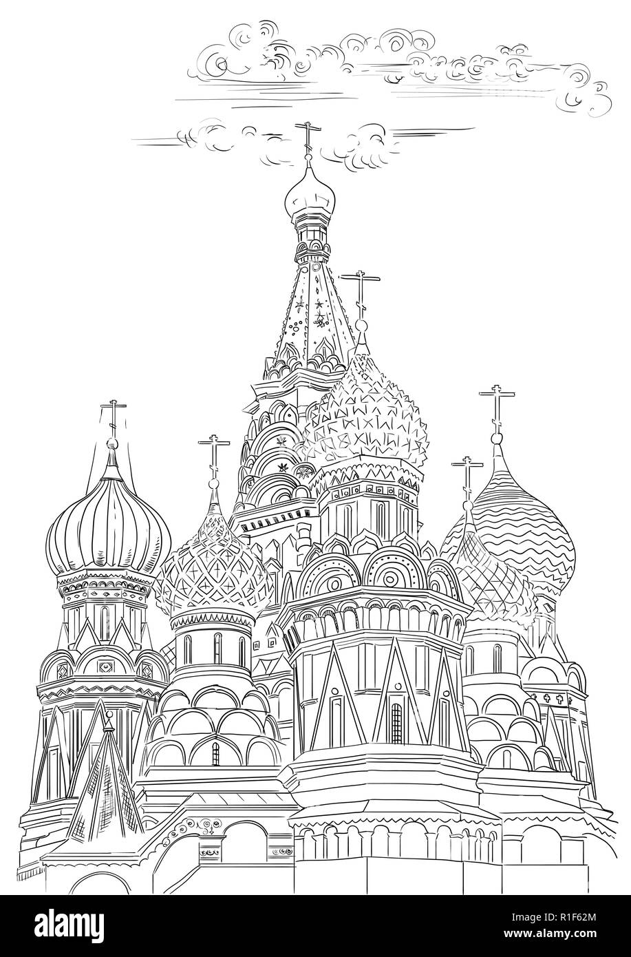 Saint Basils Cathedral of Kremlin (Moscow, Russia) isolated vector hand drawing illustration in black color on white background - Stock Image