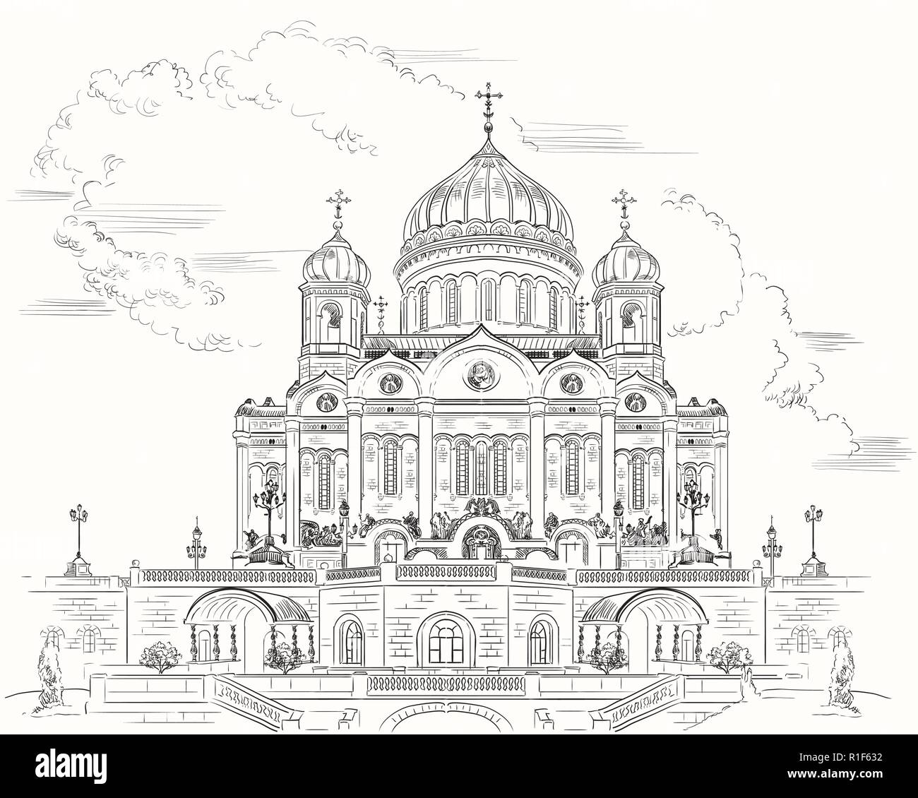 Cityscape of Cathedral of Christ the Saviour (Moscow, Russia) isolated vector hand drawing illustration in black color on white background - Stock Image
