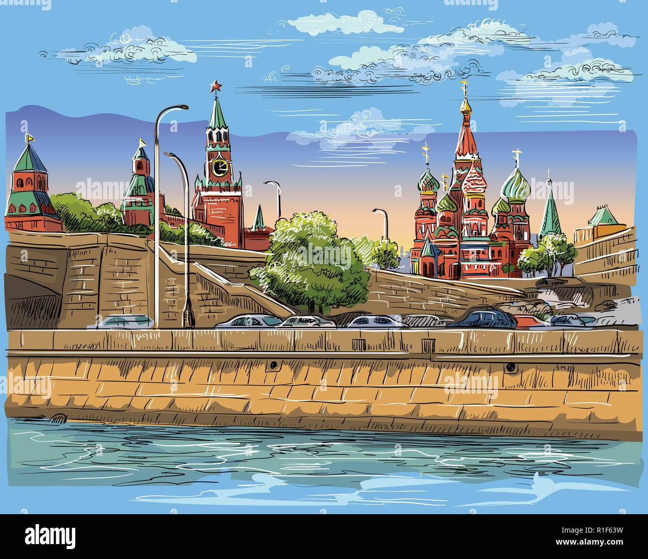 Cityscape of embankment of Kremlin towers and bridge across Moscow river (Red Square, Moscow, Russia) Colorful isolated vector hand drawing illustrati - Stock Vector
