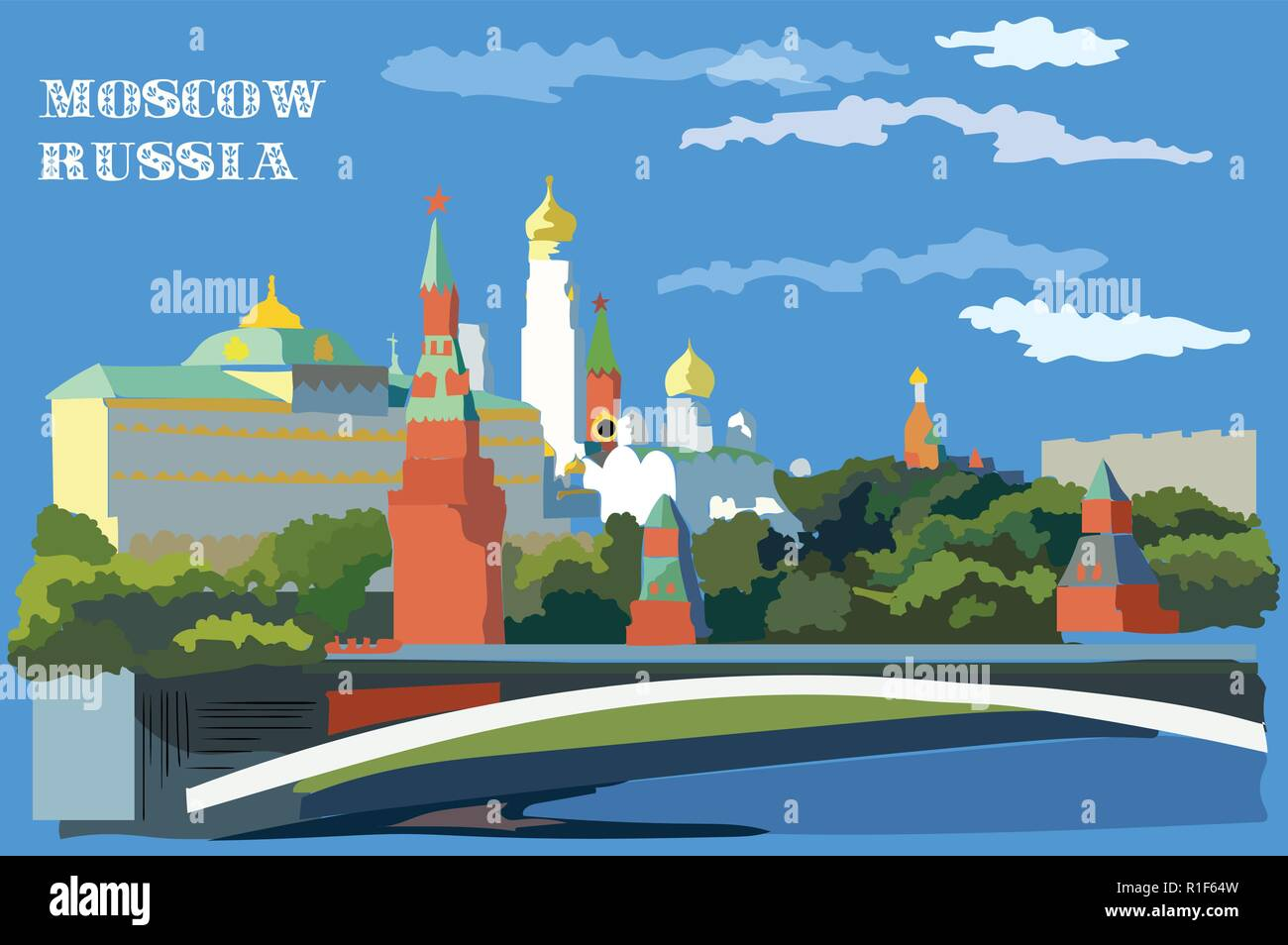 Cityscape of embankment of Kremlin towers and bridge across Moscow river ( International Landmark Red Square, Moscow, Russia). Colorful vector illustr - Stock Vector